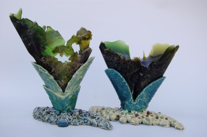 """slumped glass """"silica -based Life Forms; Flower"""""""