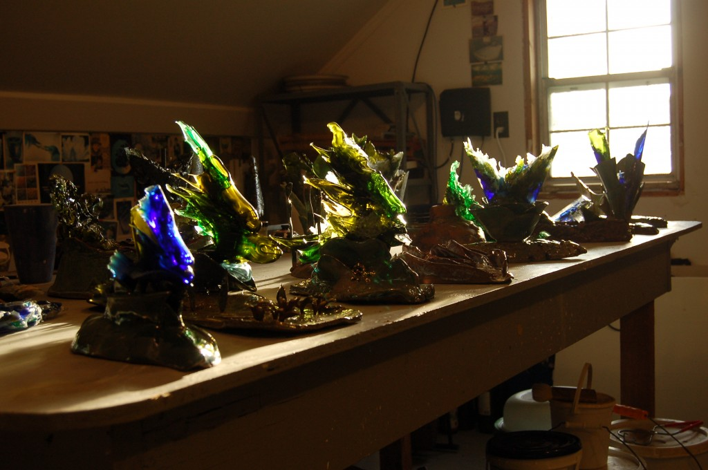 All the sculptures awaiting transport