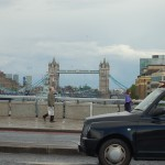 Tower Bridge from London Bridge somewhat down the Thames
