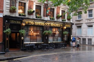 The Sherlock Holmes Pub where I had Bangers and Mash!!! and BEER